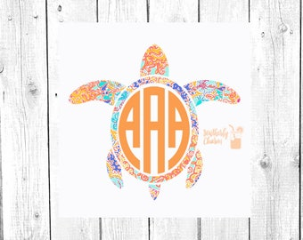 Sea Turtle Decal, Sea Turtle Monogram, Monogram Decal, Yeti Decal, Car Decal, Laptop Decal, Gifts for Her, Birthday Gift
