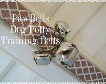 Paw Bells, Housebreaking Training Bells, Light Brown Quatrefoil, Instructions included, Fast Shipping