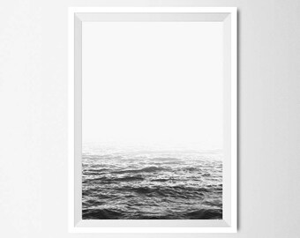 Ocean Wall Art, Black and White Sea Print, Minimalist Home Decor, Printable Scandinavian Style Art, Digital, Instant Download