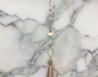 Mixed Metal Leather Tassel Pendant Necklace