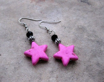 Pink Stars - Black Crystal and Hot Pink Beaded Earrings