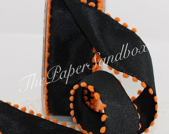 """Wired Black/Orange Ribbon, 1.5"""" wide by the yard, Halloween Ribbon, Pom Pom Trim, Gift Wrapping, Wreaths, Halloween Decor, Sewing, Hair Bows"""