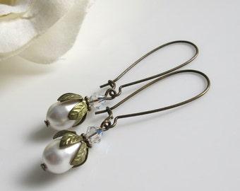 Jahrgang Woodlands weiß Hochzeit. Teardrop Perlen Swarovski Kristall lang baumeln Antik Ohrringe. Hochzeit Braut Brautjungfer für ihre Geschenke