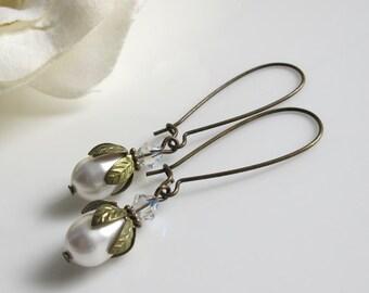 Vintage Woodlands White Wedding. Teardrop Pearl Swarovski Crystal Long Dangle Antiqued Earrings. Wedding Bridal Bridesmaid For Her Gifts