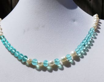 Baroque Fresh Water Pearls and Teal Torch-Work Beads