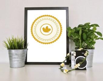 Illustration bird flies - graphic lace - print - watercolor paper 210 gr - 20x30cm