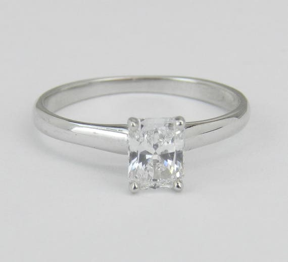 14K White Gold E VS1 Radiant Cut Diamond Solitaire Engagement Ring Size 5