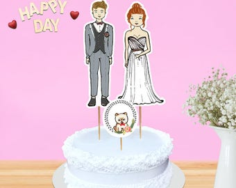 Customized bride and groom wedding cake topper with framed pet- bride sweetheart shaped wedding dress- Framed Pomeranian puppy topper