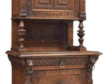 Antique French Carved Oak Cabinet 1800's 91h35.5w21.5d Shipping is not free