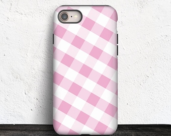 Pink Gingham iPhone 8 TOUGH Case - Pattern with Pink and White - iPhone 8 Plus tough Case