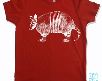 KIDS ARMADILLO Tee Shirt - eco screen printed Sizes  (Color Options) - FREE Shipping