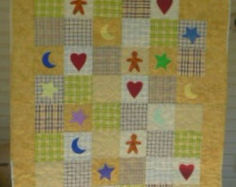 Yellow Patchwork Quilt for Baby or Toddler