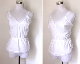 Vintage 1980s white cotton-rich lace-trimmed camisole - pretty white waisted tank top - small to medium