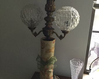 """Vintage Victorian Ornate Metal Lamp/Light with Two Glass Globes-Repurpose/Add Glass or Fabric-26"""" Tall"""
