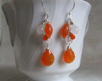 Carnelian Moonstone Earrings- Silver, Wire Wrapped