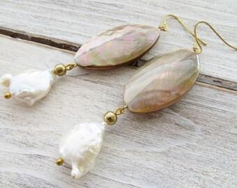 White keshi pearl earrings, shell earrings, freshwater pearl earrings, uk dangle earrings, drop earrings, wedding jewelry, italian jewelry