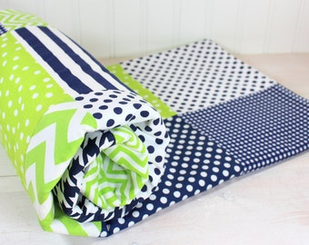 Baby Blanket, Nursery Decor, Minky Baby Blanket, Baby Shower Gift, Patchwork Quilt, Lime, Green, Navy Blue, White, Lime, Navy, Baby Boy