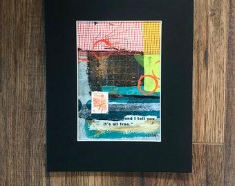Mono Print Paper Art, Gelli Plate Art, Collage Art, Mixed Mixda Art