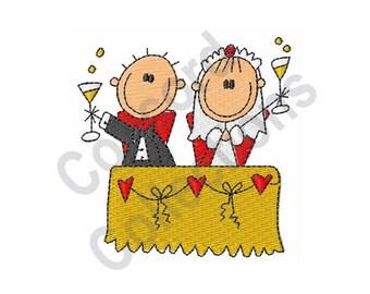 Wedding Toast - Machine Embroidery Design, Wedding, Toast, Bride and Groom