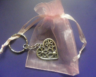 Flower Love Heart Keyring Keychain Bag Charm With Gift Bag Select Quantity Free P&P Charm Keyrings UK Postage Only