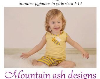 Pajamas pattern Lucy pdf sewing pattern Summer pyjamas girls sizes 1-14 shorts tank