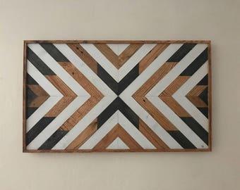 Wood Wall Art - Large Wood Wall Art - Abstract Wood Wall Hanging - Geometric Wood Wall Art - Reclaimed Wood Wall Art