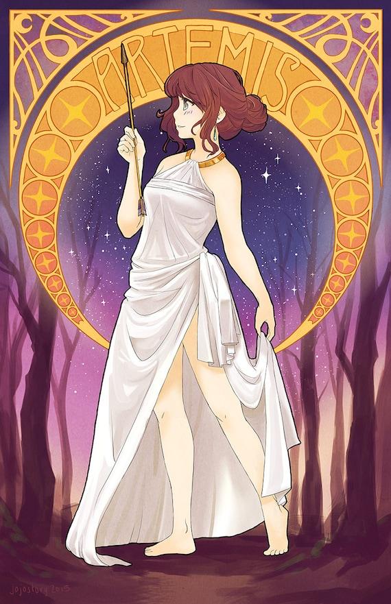 Artemis Greek Goddess greek mythology art nouveau poster