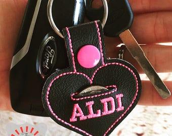 Aldi Keychain, Aldi Heart keychain, Aldi Keyfob, Aldi Snap Tab, Aldi Quarter Holder, Aldi Quarter Keychain, Seller's Choice of Color Combo