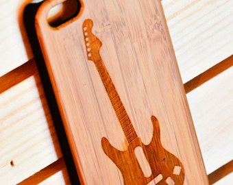 Fender Strsatocaster Guitar a100 Laser engraved Wood case with rubber coated plastic for iPhone 6 6s 6 plus 6s plus 7 7 plus 8 8 plus x