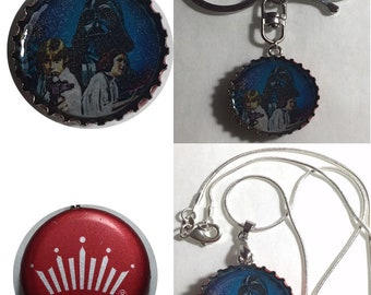 Budweiser Bud Beer bottle cap Star wars ad Darth vader Leia Han Solo Keychain, Pendant, Necklace