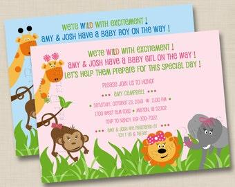 We're WILD w/ Excitement Zoo Animals Custom Baby Shower Invitation Design