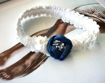 Bridal  Keepsake Garter in ivory  sequined elastic band