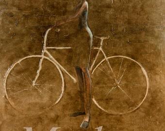 White Bike. 2013 Original Oil Painting print on rolled canvas,Fine art print, Girl and bike