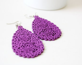 Buy 3 Get 1 FEE //Violet Tear Drop  ,Naturally Beauty Wood Earring