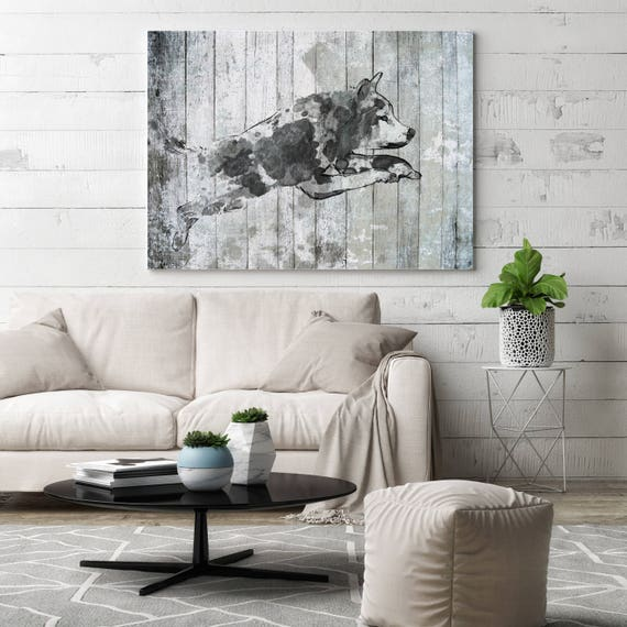 "Jumping Wolf. Extra Large Wolf Canvas, Unique Wolf Wall Decor, Gray Blue Rustic Wolf Canvas Art Print up to 72"" by Irena Orlov"