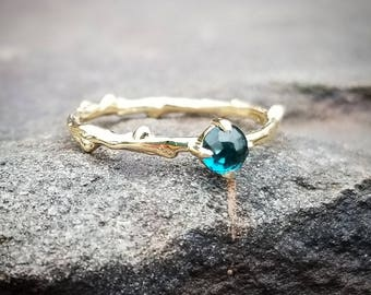 London Blue Topaz Ring 14K Gold Ring Womens Gift London Blue Topaz Rings Gemstone Stacking Ring December Birthstone Jewelry Stackable Rings