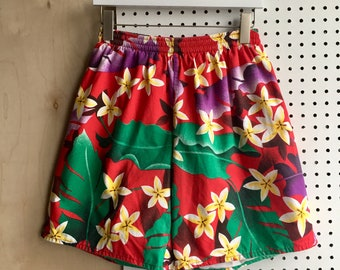 Vintage Hawaiian Tropical Colorful Shorts