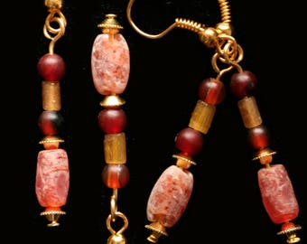 Ancient Egyptian and Roman Carnelian Bead Earrings, 600 BC - 3rd c AD, Jewelry, Archeology,