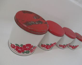 Vintage Decoware Set of four Metal Red Floral Canisters