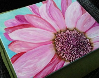 Pink Happy Daisy - 16x20 original acrylic painting on canvas