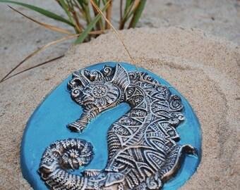 Ocean Decor Gift for Her, Seahorse Sculpture Beach Wall Plaque, Cast Stone Art