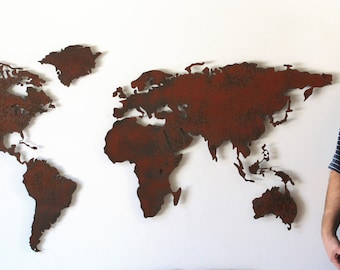 World map metal wall art 60 wide x 36 tall 5 world map metal wall art 60 wide x 295 tall 4 separate pieces shown in the rust patina choose you color gumiabroncs Image collections
