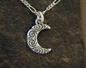 Sterling Silver Moon Pendant on a Sterling Silver Chain