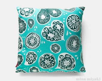 """Frutti Print Pillow or Pillow Cover in White and Blue, Teal, Aqua, 18 inch by 18"""". Cotton Linen Blend canvas with invisible zipper"""