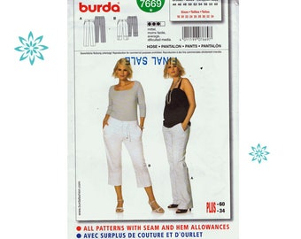 burda 7669 Women's Pants and Crop Pants Sewing Pattern for Women  UNCUT SIZES 18 TO 34