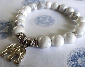 Elephant Charm Bracelet, Elephant Charm Bracelet with White Howlite Stone Beads, Elephant Jewelry, Elephant Bracelet,