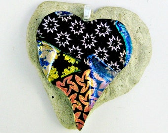 Fused Glass Dichroic Heart Pendant  - Patchwork - Quilted