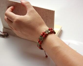 Bracelet, friendship bracelet, bracelet beads, cord bracelet, ceramic bracelet, adjustable bracelet, charm bracelet, gift for her, OB-00949
