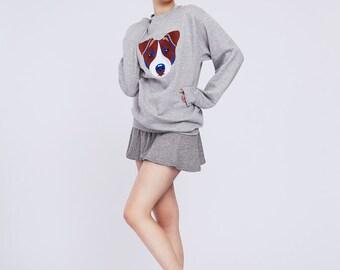 40 % OFF | JACK RUSSEL | Grey sweatshirt with embroidered Jack Russell Terrier dog | Jack Russell gift