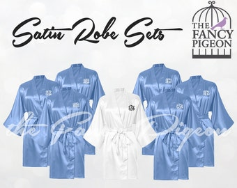 SERENITY SATIN ROBES - Monogrammed Robes - Personalized Robes - Bridesmaids Robes - Bridesmaid Robes - Satin Wedding Robe - Bridesmaid Robe